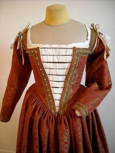 Renaissance Gown Venetian Dress Red Brocade Ren by redthreaded, $735.00