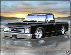 1967 68 Chevy Fleetside Pickup Truck Art Print bk