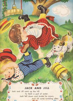 Vintage Nursery Rhyme Jack and Jill Nursery Rhymes Poems, Kids Poems, Vintage Nursery, Vintage Children's Books, Vintage Kids, Clip Art, Mother Goose, Little Golden Books, Children's Book Illustration