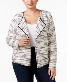 Style & Co. Plus Size Space-Dyed Open-Front Jacket, Only at Macy's | macys.com