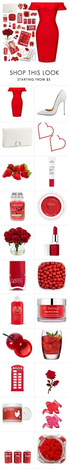 """""""Bloody Rose"""" by kwonrena ❤ liked on Polyvore featuring Posh Girl, Bulgari, Nuxe, Yankee Candle, rms beauty, Nearly Natural, Clinique, Nails Inc., The Body Shop and Dr. Sebagh"""