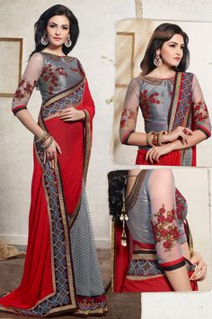 Red Color Designer Party Wear Saree With Blouse From Easysarees.