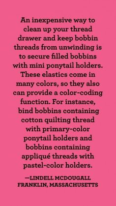 Bobbin Brigade | AllPeopleQuilt.com Sewing Tips, Sewing Hacks, Sewing Crafts, Sewing Projects, Quilting Thread, Quilting Tips, American Patchwork And Quilting, Thread Up, Sewing Studio
