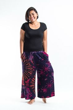 PLUS SIZE Wide Leg Palazzo Harem Pants Cotton Tie Dye Purple