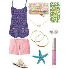 Beach outfit by ktanner02 on Polyvore featuring polyvore, fashion, style, maurices, Uniqlo, Jack Rogers, Lilly Pulitzer, Agnes de Verneuil, Kate Spade and Ilia