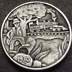 SHANE HUNTER HOBO NICKEL - WATER HOLE JOE - 1930 BUFFALO NICKEL Hobo Nickel, Coin Art, Copper Penny, Show Me The Money, Postage Stamps, Art Forms, Sculpture Art, Coins, Carving
