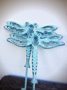 BOLD pair of garden dragonflies // pastel sea foam ocean blue // shabby chic spring bugs // dragonfly wall hook towel hook on Etsy, $21.00