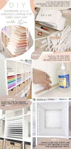 cardstock storage for Ikea Kallax cubes bookcase unit using foamboard, a cutter and a ruler! And voilá! Craft Room Design, Craft Room Decor, Cricut Craft Room, Craft Space, Craft Room Storage, Paper Storage, Craft Rooms, Space Crafts, Home Crafts