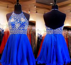 Short Prom Dresses,Chiffon Homecoming Gowns,A-line Party Dress,Royal Blue Prom Dresses,Sparkly Cocktail Dress