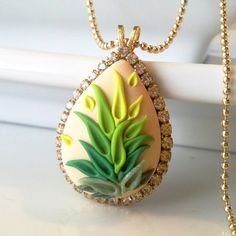Leafy Greens  NECKLACE  clay embroidery & rhinestone by Anca Pe'elma, $38.00