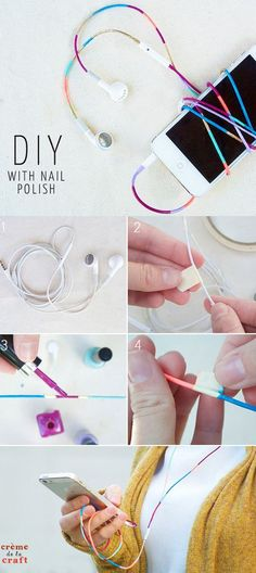 DIY Crafts Using Nail Polish - Fun, Cool, Easy and Cheap Craft Ideas for Girls, Teens, Tweens and Adults | DIY Nail Polish Ear Buds - Headphones for Your Phone: