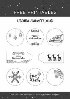 Freebie Geschenkanhänger XMAS Weihnachten grau / schwarz weiß #freeprintable #myposter #magazin #DIY #vorlage