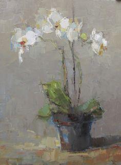 "Barbara Flowers, ""Orchids"", Oil on Canvas, 40x30 - Anne Irwin Fine Art"