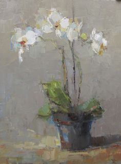 "Barbara Flowers, ""Orchids"", Oil on Canvas, 40x30 - Anne Irwin Fine Art"
