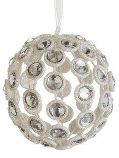 "Merry X'mas XM0727-CW/SI 4.5"" Glittered Rhinestone Ball Ornament Clear Silver"