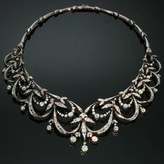 Victorian antique diamond necklace by adinantiquejewellery on Etsy, $30900.00