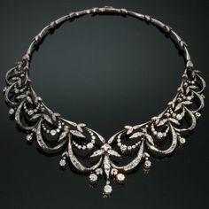 Victorian Antique Diamond Necklace Parure por adinantiquejewellery