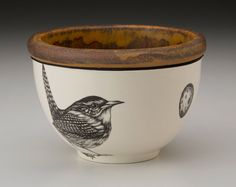 Laura Zindel Design - Small Round Bowl: Carolina Wren, $55.00 (http://www.laurazindel.com/small-round-bowl-carolina-wren/)