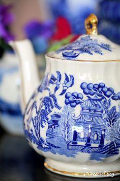 pretty blue and white teapot