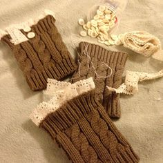 Relaxing on a soft pillow top while adding the final touches to my lace knit boot cuffs with lace and buttons both. The lace is often hand sewn or sometimes machine sewn. Than the buttons are the very last step.