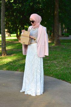 Pinned via Nuriyah O. Martinez | lace skirt, leena asad hijab, Classy hijab outfits http://www.justtrendygirls.com/classy-hijab-outfits/