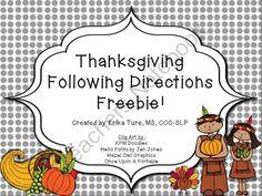 Thanksgiving Following Directions FREEBIE from SplashySpeechStuff on TeachersNotebook.com -  (3 pages)  - This following directions activity contains 10 prepositional concepts