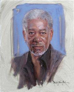 Portrait of Morgan Freeman by Michael Shane Neal - The Studio of Portrait Artist Michael Shane Neal - Original portrait paintings by Michael...