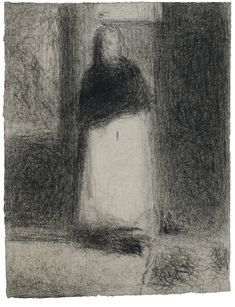 La Concierge 1884 Georges Seurat Conté crayon on laid paper - 12 by 9 Georges Seurat, Paul Signac, Paul Gauguin, Value Drawing, Mass Drawing, Guggenheim Bilbao, Chiaroscuro, Beautiful Drawings, Drawing Techniques