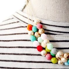 Three Strand Beaded Statement Necklace- Mother's Day Gift-...