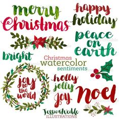 Christmas Watercolor Sentiments Brush Lettering Merry | Etsy