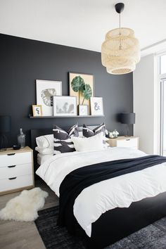 See how a dramatic black wall can instantly transform a basic condo bedroom. See how a dramatic black wall can instantly transform a basic condo bedroom. Condo Bedroom, Master Bedroom Interior, Home Decor Bedroom, Bedroom Black, White Bedroom Decor, Budget Bedroom, Decor Room, Room Decorations, Charcoal Bedroom