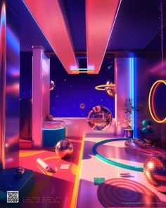 vaporwave space Space Escape on Behance Neon Aesthetic, Aesthetic Rooms, Neon Room, Neon Lighting, Vaporwave, Architecture, Wall Collage, Aesthetic Wallpapers, Neon Signs