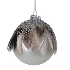 Houseology Collection Glitter & Feather Bauble Dark Brown
