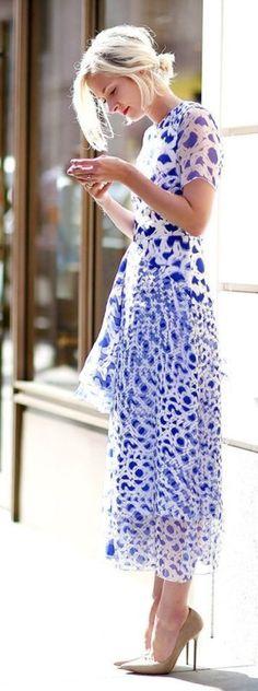 Blue, white and pretty.