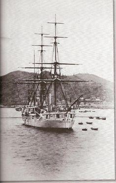 영국 함대 거문도 정박 (1890)  British ship anchored at Komundo