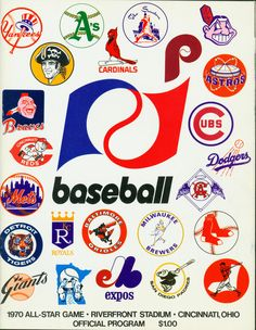 The official program from the 1970 MLB All-Star Game at Riverfront Stadium in Cincinnati, Ohio. (National Baseball Hall of Fame Library) Mets Baseball, Baseball Art, Baseball Games, Baseball Shirts, Baseball Players, Baseball League, Baseball Stuff, Baseball Lineup, Baseball Display