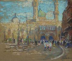 Mosque by Edgar Wood (1928). Pastel on sandpaper