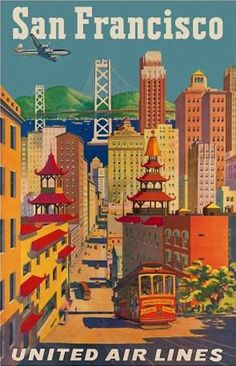 United Airlines | Beautiful Vintage San Francisco Travel Posters