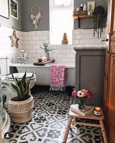 Our bathroom renovation, metro tiles, patterned floor tiles, Bathroom Renovations, Home Remodeling, Remodel Bathroom, Architecture Renovation, Bathroom Colors, Metro Tiles Bathroom, Bathroom Tile Patterns, Metro Tiles Kitchen, Zen Bathroom Decor