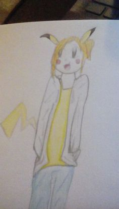 Human Pikachu! I know Ash's pikachu is male, but I just drew a female pikachu as a human cuz they exist. And I know that my camera quality is awful, so please ignore that.