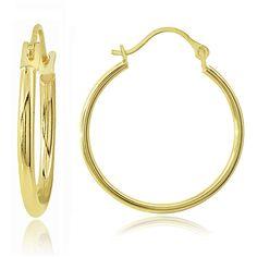 Mondevio 14K Gold 1.5mm Round Hoop Earrings,25mm ($67) ❤ liked on Polyvore featuring jewelry, earrings, diamond earrings, gold earrings, 14k hoop earrings, gold hoop earrings and 14k earrings