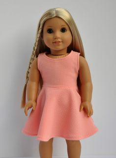 Coral sleeveless skater dress by CircleCSewing on Etsy. Made from the Versatility Dress pattern, available at http://www.pixiefaire.com/products/the-versatility-dress-18-doll-clothes. #pixiefaire #versatilitydress