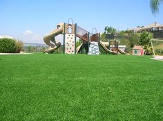 Playground Using SYNLawn (10) Our synthetic playground turf mimics real grass, cushioning falls and preventing grass stains. Get a free consultation from SYNLawn® of San Diego.
