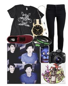 """""""Playing Five Nights At Freddys With Dan and Phil"""" by cj423 ❤ liked on Polyvore featuring Proenza Schouler, ASOS, Freddy, Eos and Vans"""