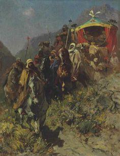 Alberto Pasini (Italian, 1826-1899).  A Caravan on a Mountain Pass