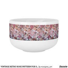 VINTAGE RETRO ROSE PATTERN FOR SOUP MUG