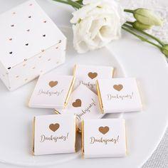 CZEKOLADKA podziękowanie z sercem Dziękujemy Wedding Cards, Wedding Invitations, Chocolate Wrapping, Building Illustration, Sweet Box, Wedding Table Decorations, Christening, Party Favors, Diy And Crafts