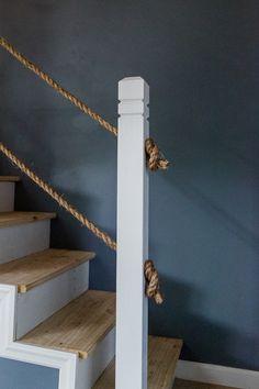 DIY Rope Stair Railing | www.cottonwoodshanty.com