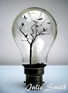 OMG!!   What a marvelous idea for repurposing light bulbs.  Tiny scene in a lightbulb. Like a snow globe only cooler!