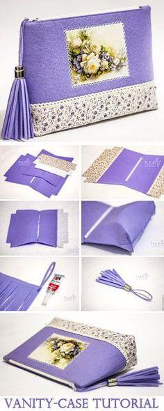 Vanity-Case of Felt and Fabric Tutorial http://www.free-tutorial.net/2017/04/cosmetic-bag-of-felt-tutorial.html